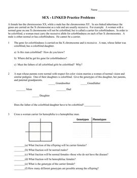 Genetics Practice Problem Worksheet: Sex linked genes (Sex linkage ...