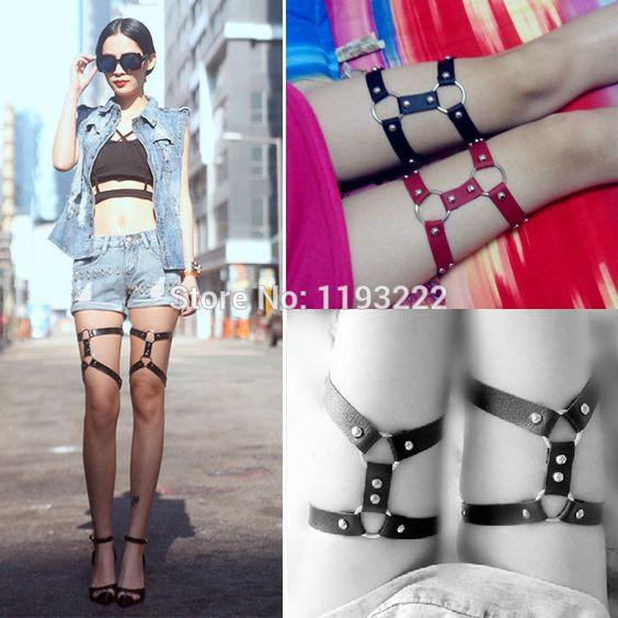 Cool Punk Handmade Studded Rivet Faux Leather Leg Ring Leg Garter Belts Thigh Belt O Ring