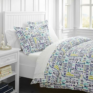 Merry Word Duvet Cover + Sham, Cool #pbteen Kind of really like this.