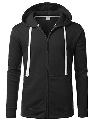 Long Sleeve Mens Black Zip Up Hoodie | Mens Fashion Hoodes ...
