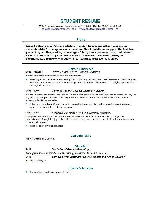 Resume College Student Perfectresumeexample Student Resume
