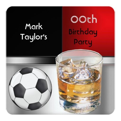 Mens Add Age Birthday Party Red Drink Soccer Announcement