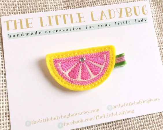 Bright Yellow and Hot Pink Grapefruit by TheLittleLadybugBows, $4.95