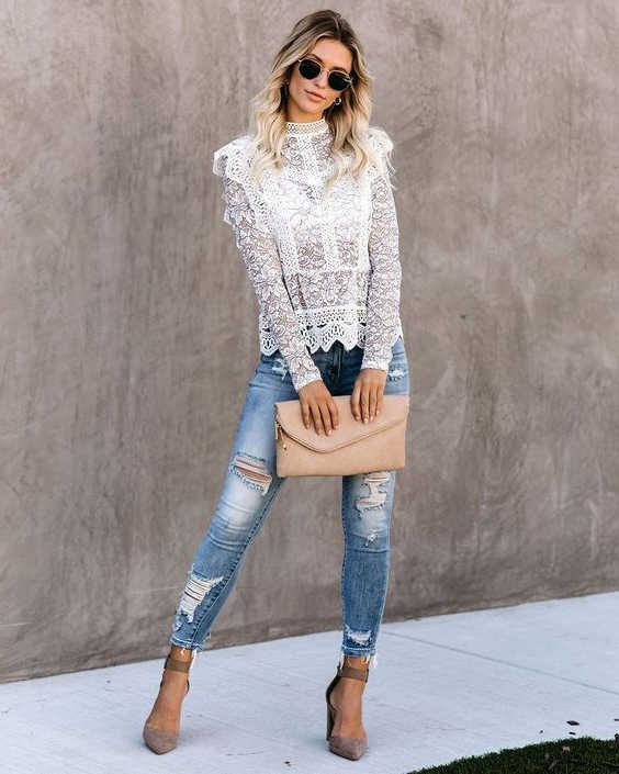 How To Wear Lace That Will Underline Your Pure Femininity 2020 -  FashionCanons.com | Peplum lace top, Lace peplum, Lace playsuit