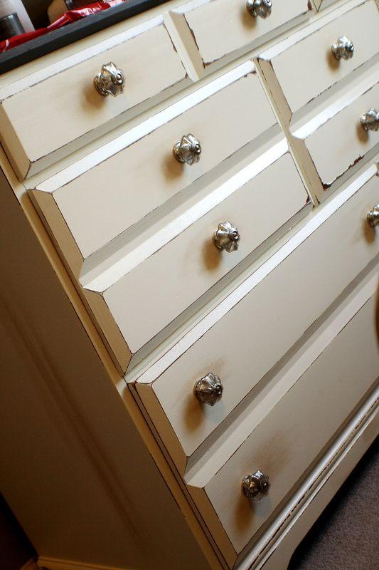 Antiqued dresser-- LOVE the hardware!!