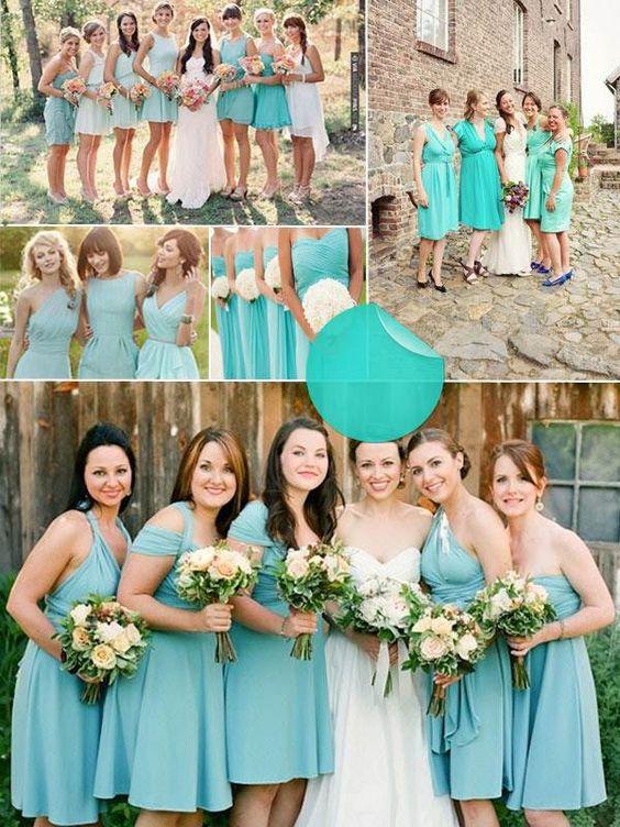 tiffany blaue Brautjungfernkleider bilder türkis blaugrün