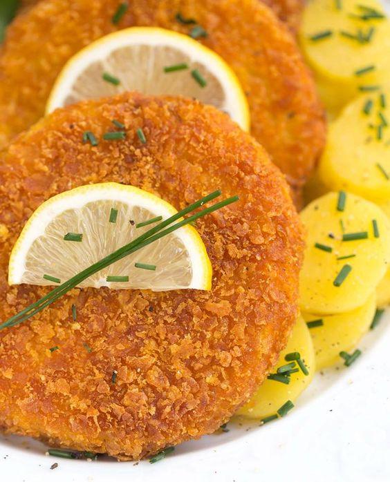 Vegane Sellerieschnitzel mit Cornflakes Panade - glutenfrei