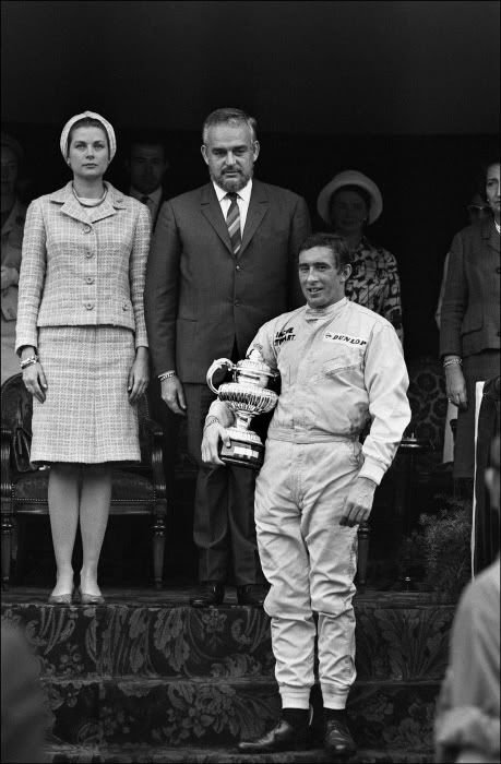 Monaco Grand Prix - Jackie Stewart the winner, receives the trophy from the Royal family.