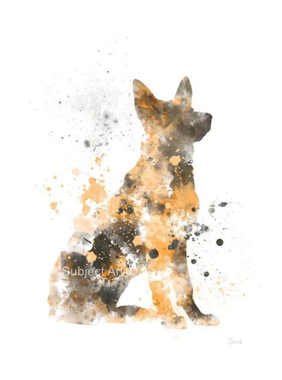 Berger allemand chien ART PRINT Illustration, décoration, sticker, Animal