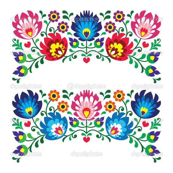 polnische Folklore Stickerei floral Muster für Karte — Stockilllustration #27383959