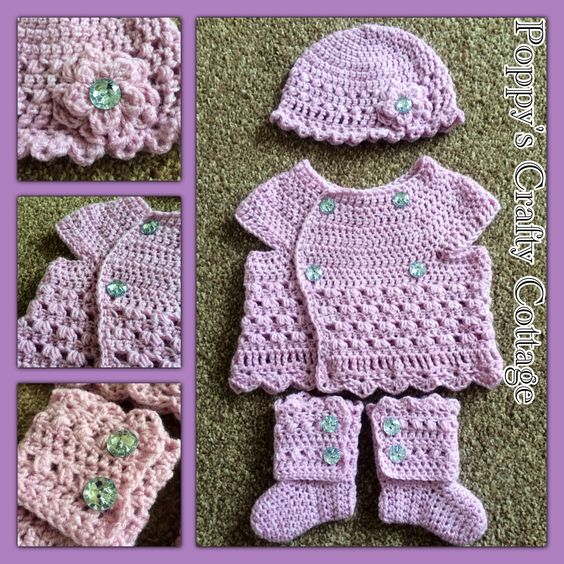 months girls autumn set ~crochet, using HDC, DC, TC, Blackberry stitch ...