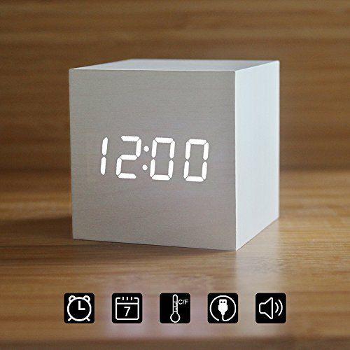 Wood Alarm Clock Digital Led Light Minimalist Mini Cube With Date