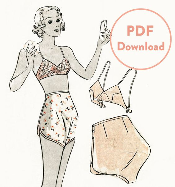 PDF Download vintage lingerie sewing pattern 1930s 30s soft bra and tap shorts bust 36
