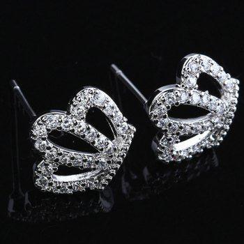 Par de Gorgeous Diamante Hollow Crown forma de Stud Pendientes para las mujeres para Vender - La Tienda En Online IGOGO.ES