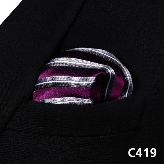 Stripe Check Geometric Men Silk Pocket Square Hanky Wedding Handkerchief #C4 Pocket Square Classic Party Wedding