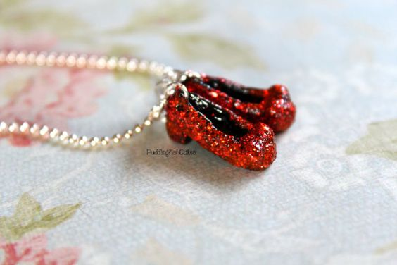Dorothy's Ruby Red Slippers Necklace Polymer by PuddingFishCakes