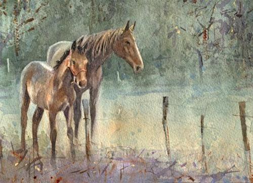 """""""Mother and Son"""" - Original Fine Art for Sale - © Nigel Fletcher"""