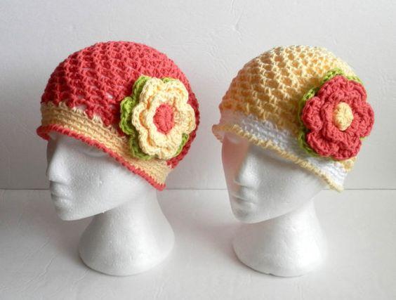 Crochet Cotton Beanie with Flower Hat Cap  by CatsCraftyCorner