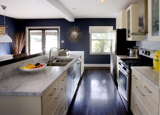 white cabinets are so overused but the dark floors and navy walls ...