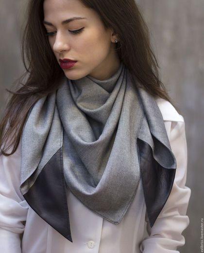 Шарфы и шарфики ручной работы. Стильный платок на шею с кожаными деталями / Шарф серого цвета. ExlibrisClothing. Интернет-магазин Ярмарка Мастеров.: