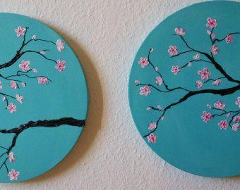 cherry blossom painting cherry blossom art purple by SheerJoy