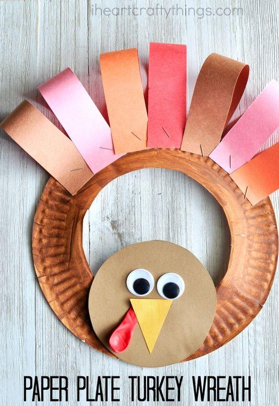 Paper Plate Thanksgiving Turkey Wreath. 16 Fun Fall Crafts For Kids & 16 Fun Fall Crafts For Kids - Laughtard