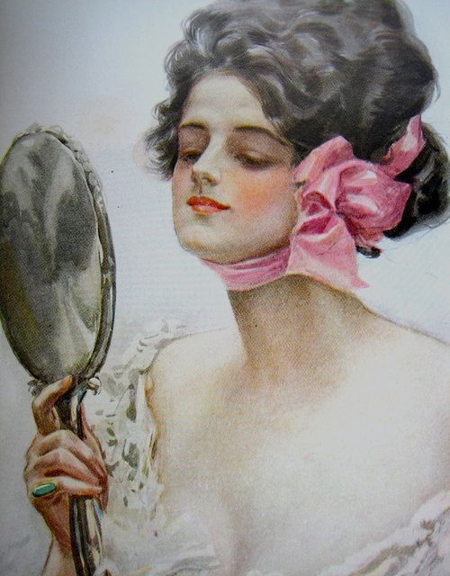 Harrison Fisher - Lady with a Mirror (Vanity) - Detail by Cea., via Flickr