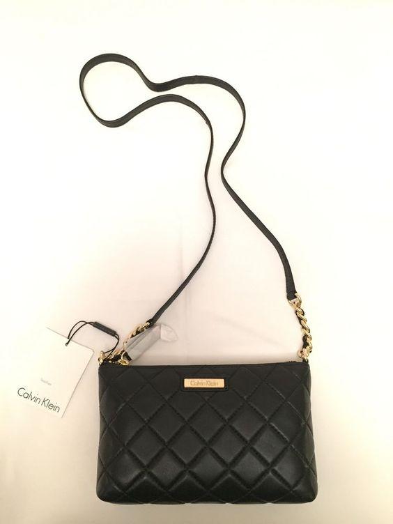 Calvin Klein Leather Crossbody Bag Black  #CalvinKlein #Clutch