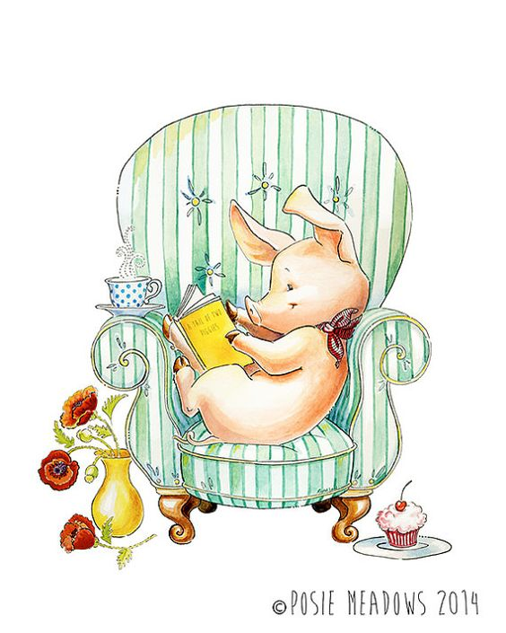 Armchair Adventures - Pig Watercolor Giclee Print, Original Artwork, Children's illustration, Nursery Wall Art
