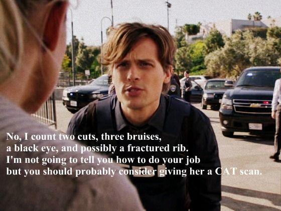 spencer reid and jj. reid has his own way of showing concern, to make sure jj is well tended | criminal minds pinterest minds, spencer and matthew gray jj u