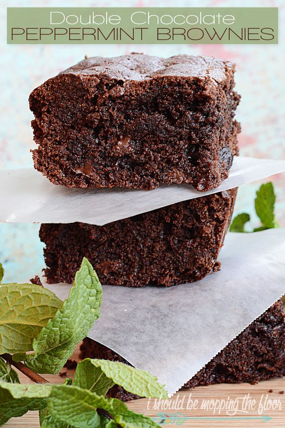 Double Chocolate Peppermint Brownies   Easy homemade brownies using peppermint essential oil and dark chocolate chips.