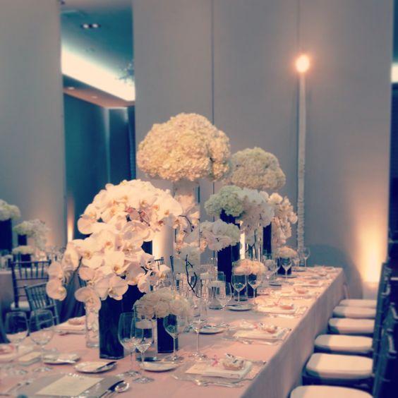 White glam tradition modern centerpiece reception
