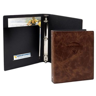 "BB9K - 8.5""x11"" LEATHER HARDCOVER 3-RING BINDER"