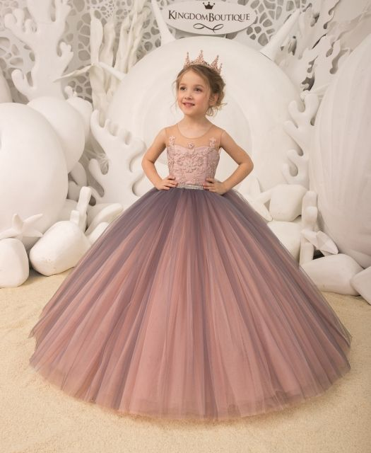 WHITE PINK Flower Girl Dress Petals Dance Birthday Formal Gown Wedding Party