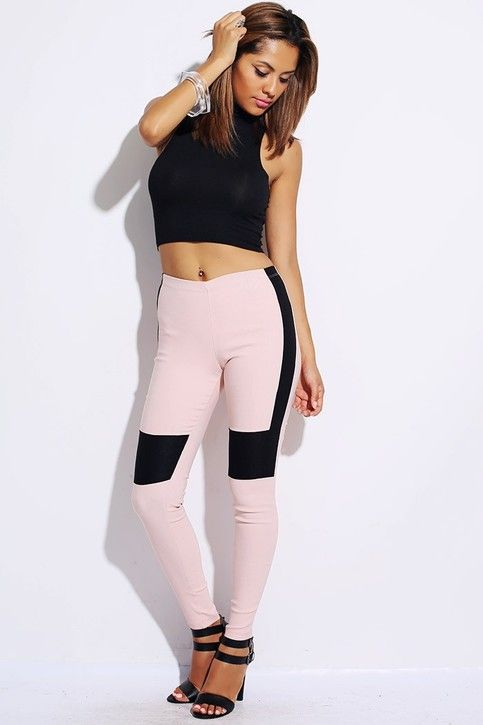 Blush pink/black color block fitted leggings.   79% Nylon, 17% Rayon, 4% Spandex.  $26.00  http://www.storenvy.com/products/2020139-blush-pink-black-color-block-fitted-leggings If you like it ,hust take it back home .