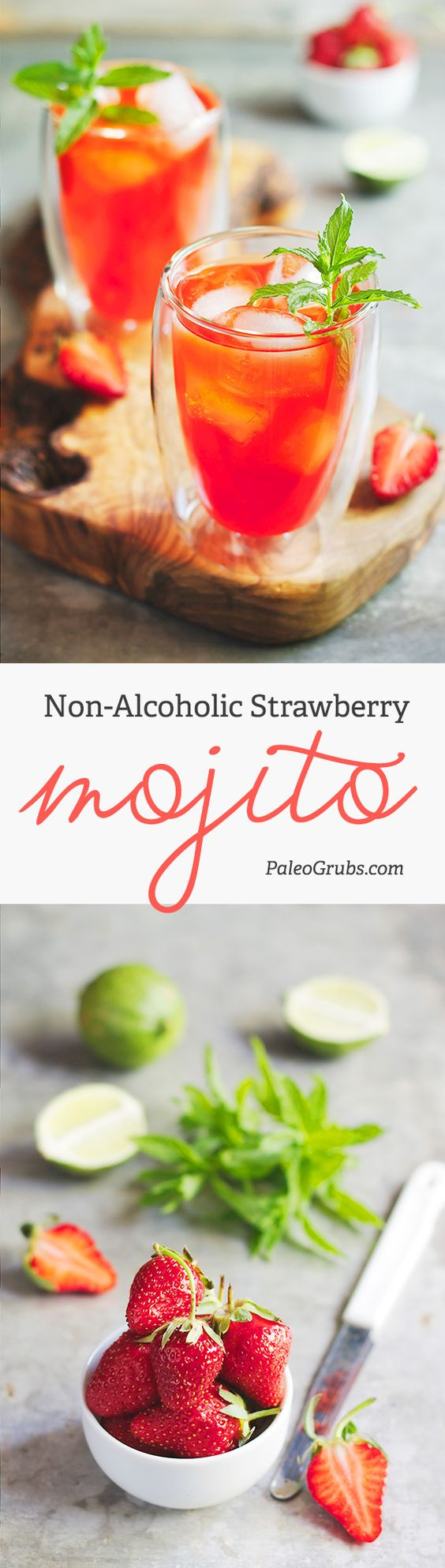 Non-Alcoholic Paleo Strawberry Mojitos Drink Recipe via Paleo Grubs - In this non-alcoholic strawberry mojito you're getting antioxidants from mint and strawberries, as well as Vitamin C from lime. Try it! It is so refreshing, wholesome and perfect for a hot day. The BEST Easy Non-Alcoholic Drinks Recipes - Creative Mocktails and Family Friendly, Alcohol-Free, Big Batch Party Beverages for a Crowd! #mocktails #virgindrinks #alcoholfreedrinks #nonalcoholicdrinks #familyfriendlydrinks #partypunch #partydrinks #newyearseve #partydrinkrecipes