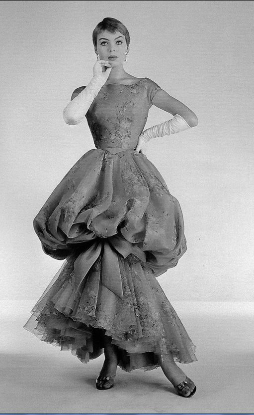 1957 Christa Päffgen (aka Nico) in evening gown by Jean Dessès, photo by Willy Maywald,