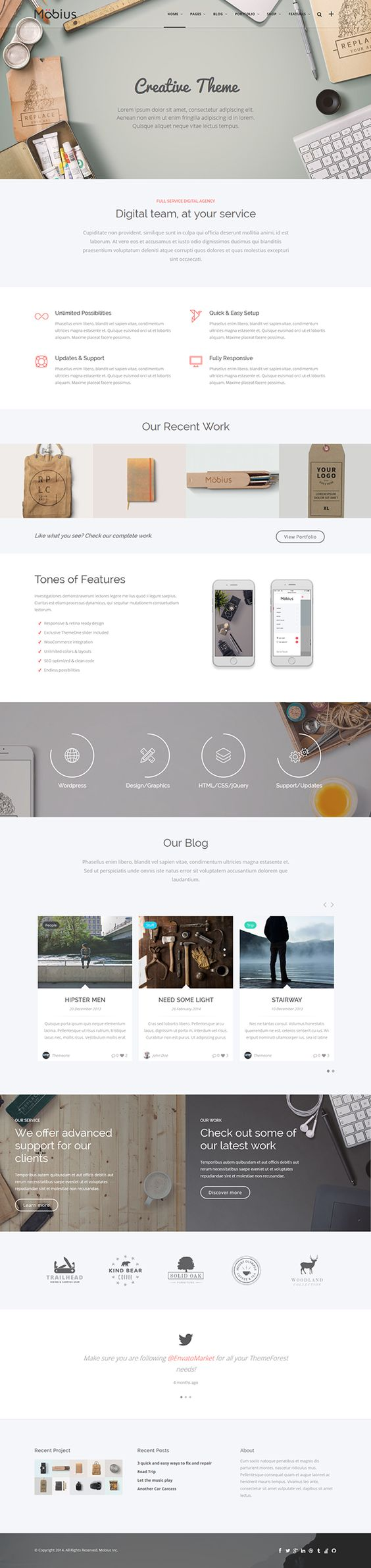 Feature a product/service at the top then its main selling points. Inspiration for emails, but great for landing pages. Mobius - Responsive Multi-Purpose WordPress Themew