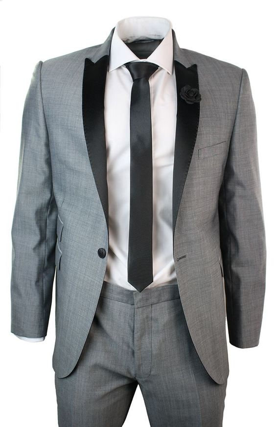 Mens Light Grey Slim Fit Designer Wool Suit Black Lapel Collar