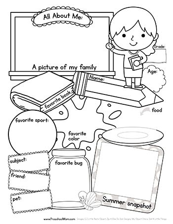 Printables Free All About Me Worksheet free all about me back to school worksheet boy and girl versions children color draw fill in the blanks with this first day b