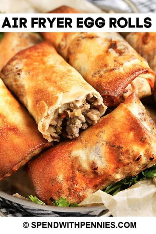 Air Fryer Egg Rolls Are Stuffed With Pork Veggies And Lots Of Flavor Fill Wrap And Cook In 2020 Homemade Egg Rolls Beef Soup Recipes Fun Easy Recipes