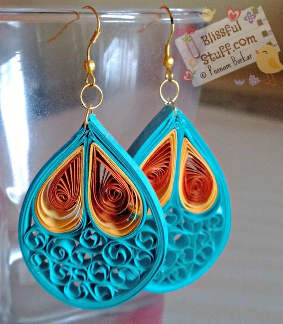 DIY - Quilled paper earrings, Paper quilling earrings tutorial