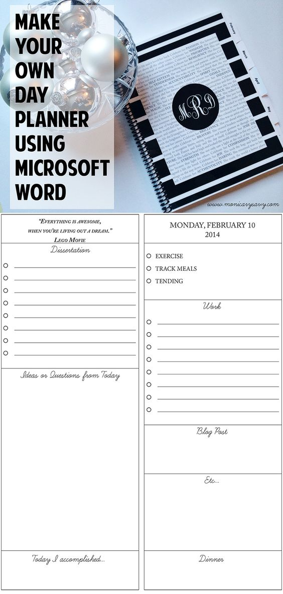 make your own day planner using microsoft word then get it printed at a local printer in less. Black Bedroom Furniture Sets. Home Design Ideas