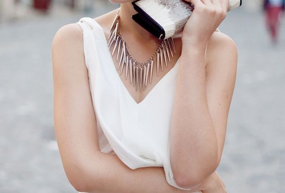 White silky shirt with necklace