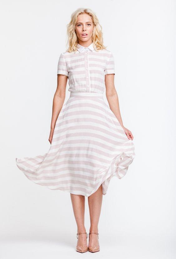 Платье в полоску с белым воротником