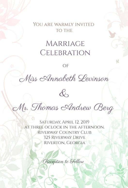 Muted Floral Wedding Invitation Template Free Greetings Island Popular Wedding Invitations Wedding Invitations Printable Templates Electronic Wedding Invitations