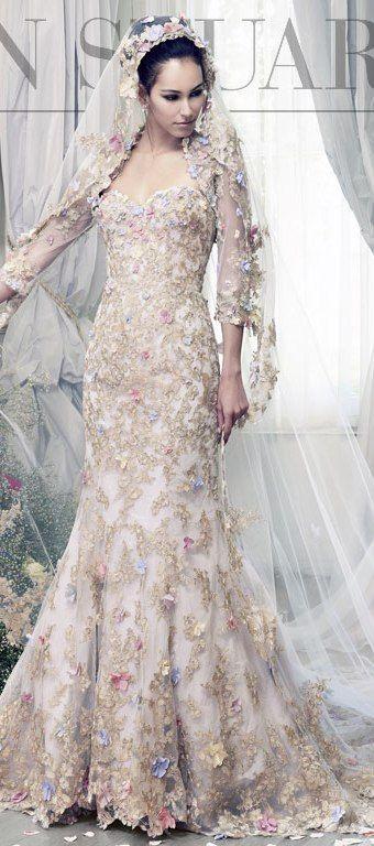 Floral lace Ian Stuart wedding dress