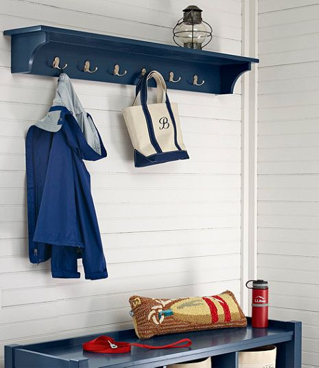 Painted Cottage Wall Shelf with Hooks
