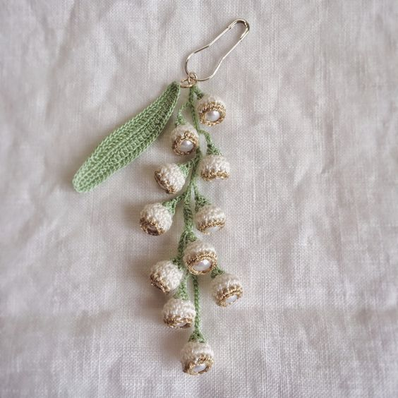 Small accessories / crochet earrings lily of the valley (eds tried knitting) (peikko Author) - Always Now