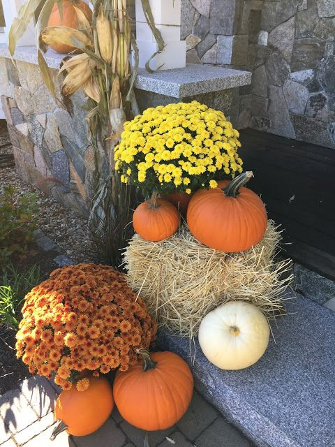 Decorating With Gourds And Pumpkins Mums And Hay Bales Fall Decorations Porch Fall Yard Decor Fall Outdoor Decor